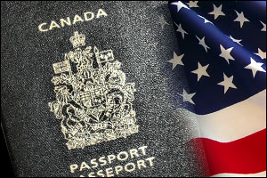 Canadian passport to the United States by air.