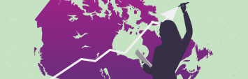 A map of Canada on a green background with a silhouette of a woman holding a paper in her left hand and, with her right, she is holding a marker to the tip of an arrow that points upward.